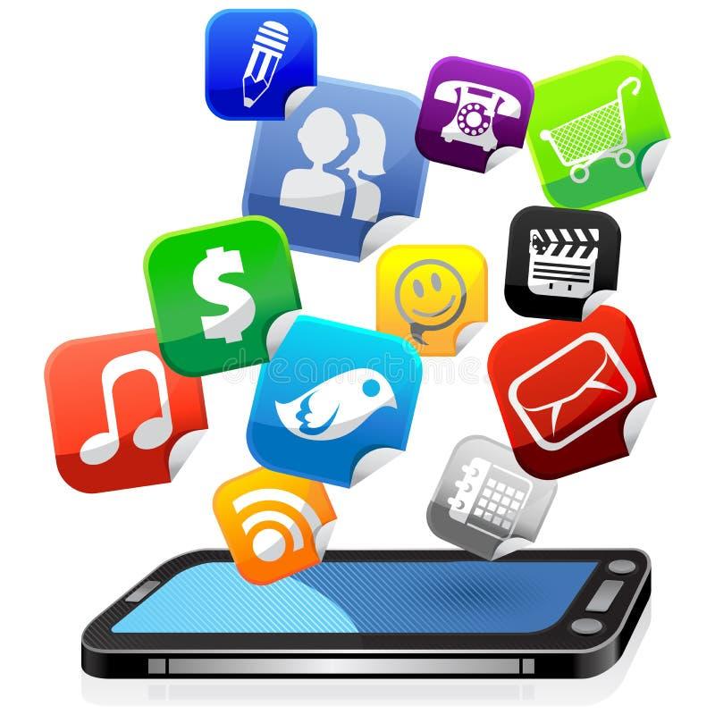 mobila apps royaltyfri illustrationer