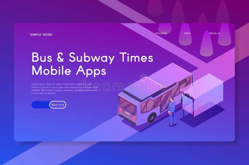 Mobila apps för buss- och gångtunneltider Isometrisk modern vektorillustration stock illustrationer