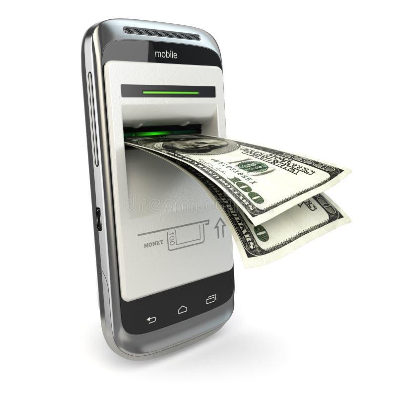 Mobila bankrörelsen. Telefonbetalning. Mobiltelefon och dollar. royaltyfri illustrationer