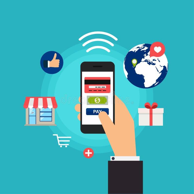 Mobila betalningar Begreppsonline-shopping och e-kommers vektor illustrationer
