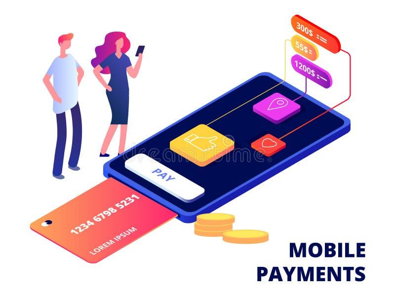 Mobila betalningar Smartphone som packar ihop appen, dataskydd och illustrationen för vektor för säkerhetsapparater vektor illustrationer