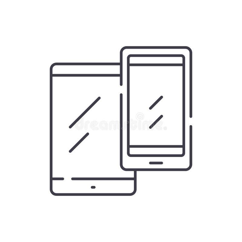 Mobila enheter fodrar symbolsbegrepp Linjär illustration för mobil enhetvektor, symbol, tecken stock illustrationer
