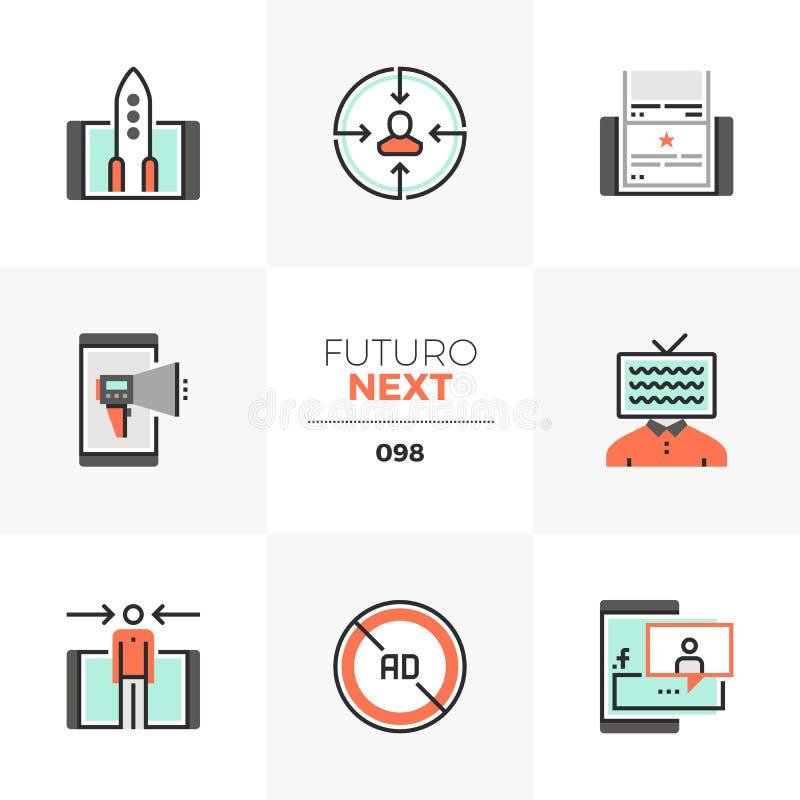 Mobila marknadsföra Futuro nästa symboler stock illustrationer