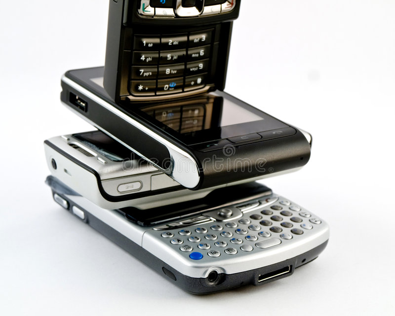 mobila moderna pdas phones flera royaltyfri foto