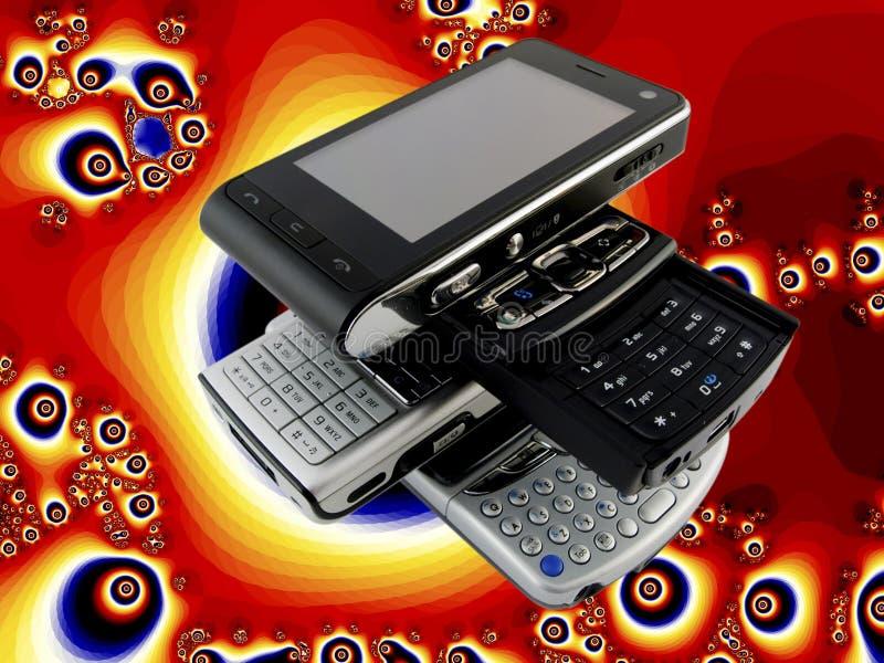 mobila moderna telefoner flera staplar royaltyfri foto