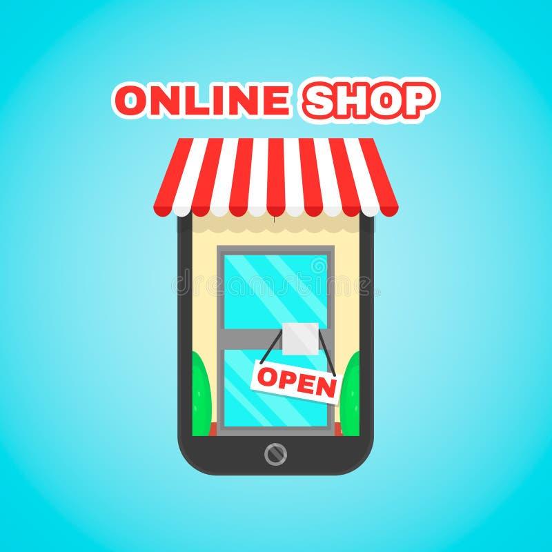 Mobila online- shoppar den plana symbolsillustrationen för vektorn E-kommers digital marknad, online-köp, online-shopping royaltyfri illustrationer