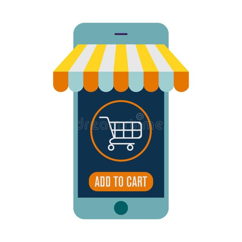 Mobila online- shoppar den plana symbolsillustrationen f?r vektorn E-kommers digital marknad, online-shopping vektor illustrationer