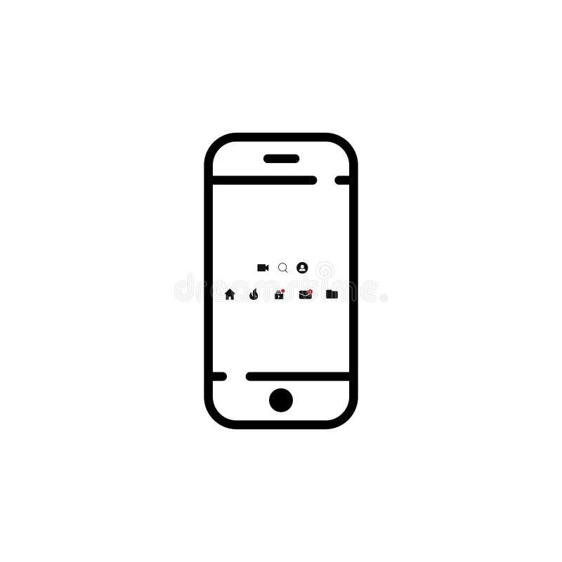 mobila symboler på skärmsmartphonen vektorsymbol EPS10 vektor illustrationer