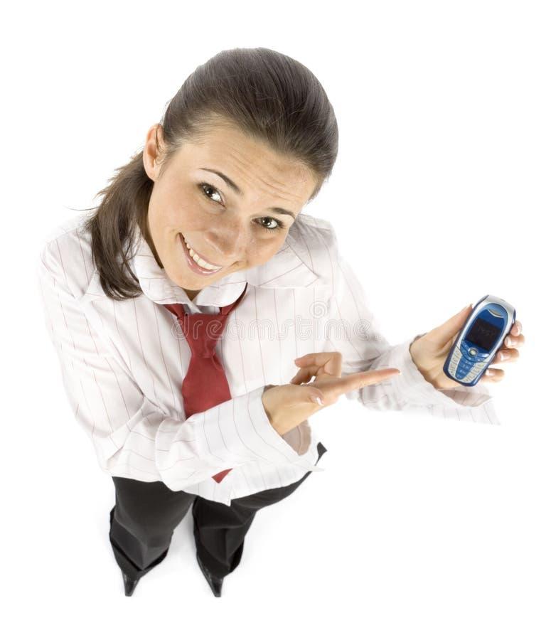 mobila telefonpunkter för affärskvinna till arkivfoto