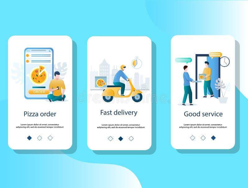 Mobilapp för leverans av livsmedel på skärmar vektormall stock illustrationer
