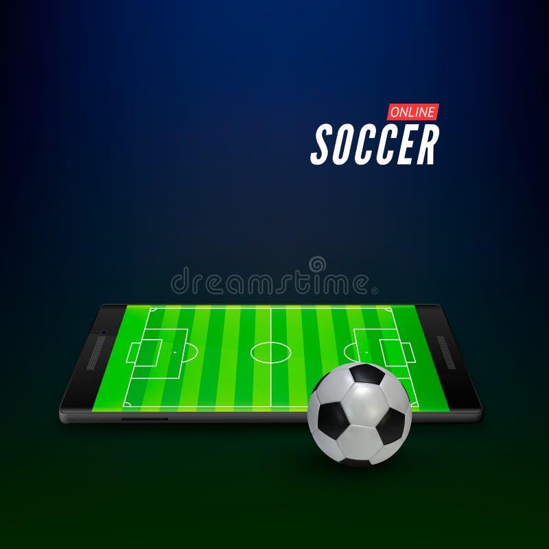 Mobilapp-manöverenhet för sportar som direktanslutet slå vad Tomt fotbollfält på smartphoneskärmen vektor royaltyfri illustrationer