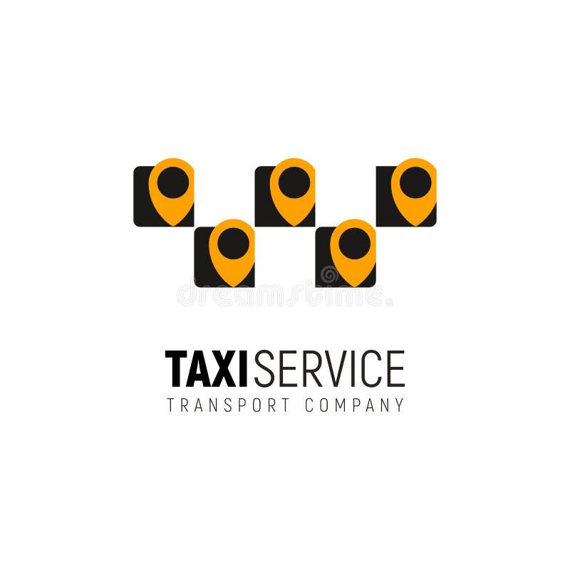 Mobilappkoncept för isolerad vektorlogotyp för taxitjänsten Cab-logotyp med flera gula geotaggar på vit bakgrund royaltyfri illustrationer