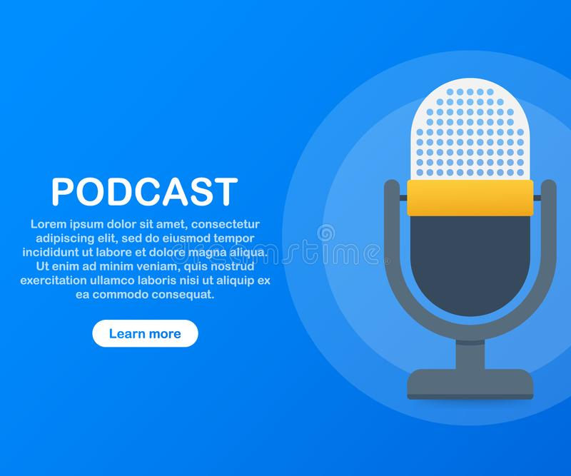 Podcast icon, vector symbol in flat isometric style isolated on color background. Vector illustration. stock illustration