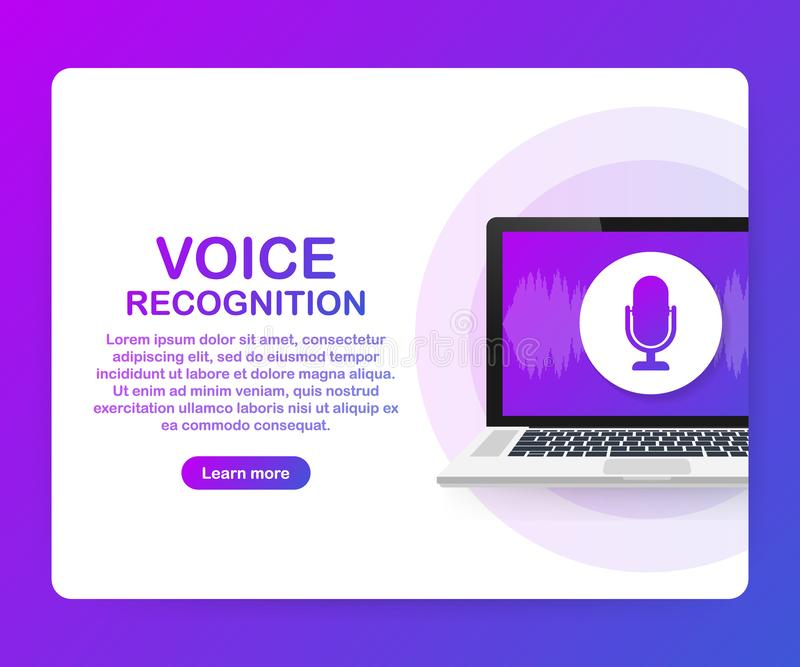 Vector flat voice recognition illustration. Landing page design. Laptop screen with sound waves and microphone dynamic icon. vector illustration