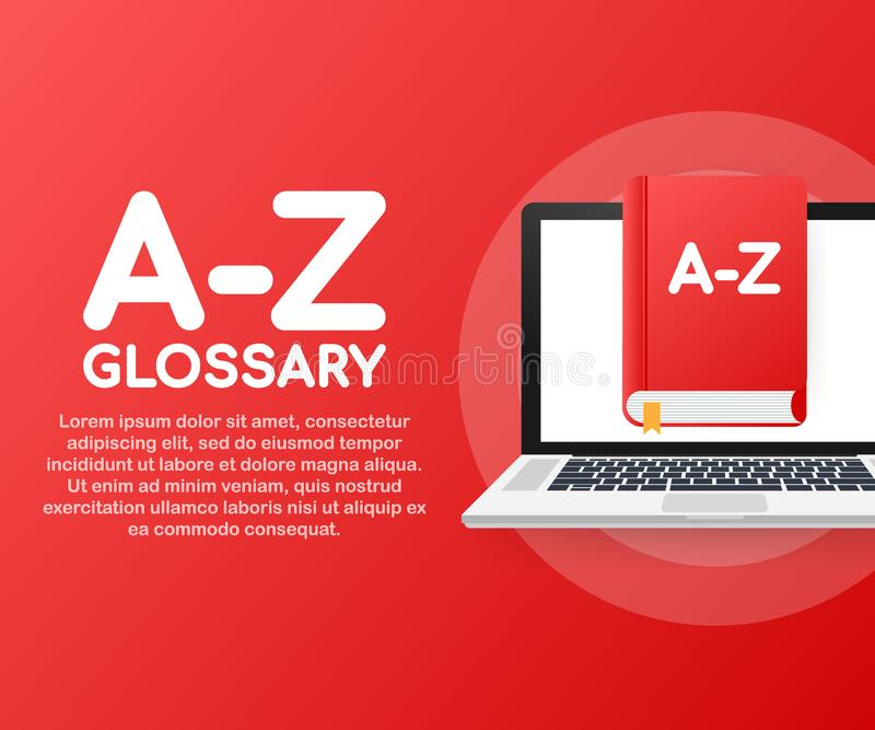 Concept A-Z glossary book for web page, banner, social media. Vector illustration stock illustration