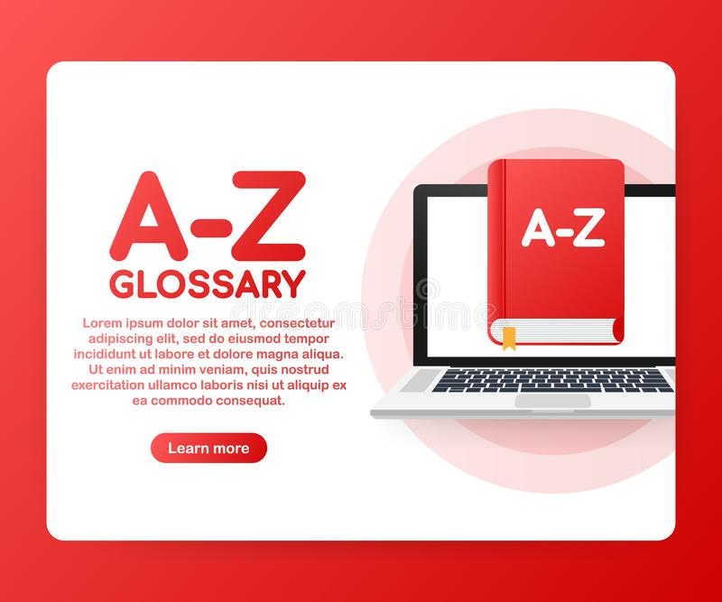 Concept A-Z glossary book for web page, banner, social media. Vector illustration royalty free illustration