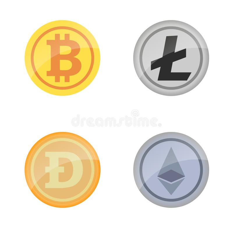 Coins Bitcoin, Ethereum, Darkcoin and Litecoin royalty free illustration