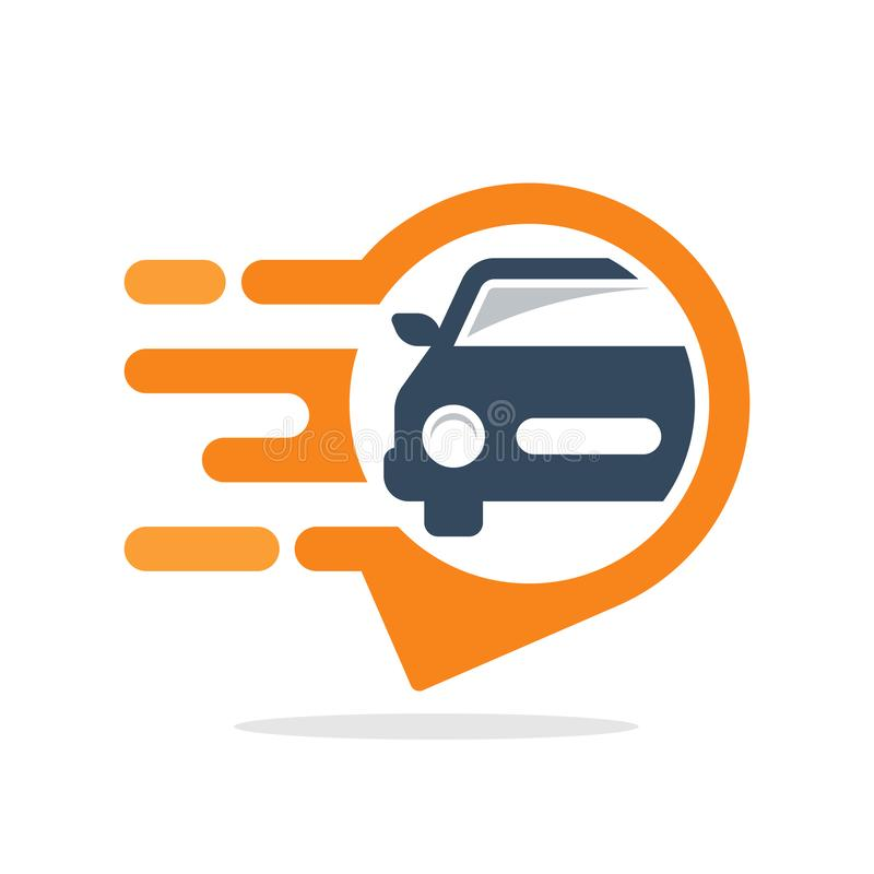 Vector illustration icon with informative & responsive service concept for accessing car tracking location information.  vector illustration
