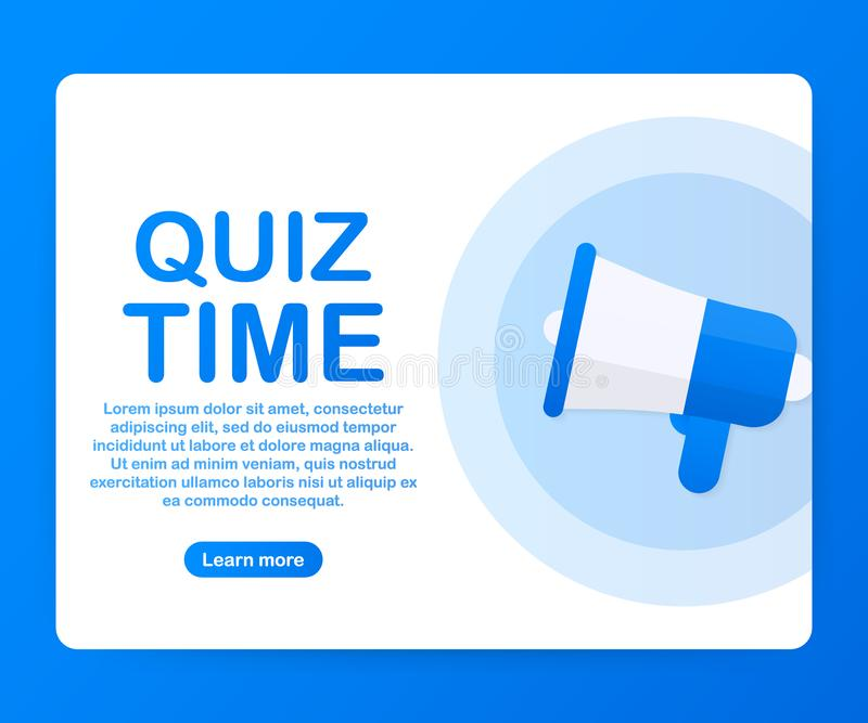 Megaphone Hand, business concept with text Quiz time. Vector illustration stock illustration