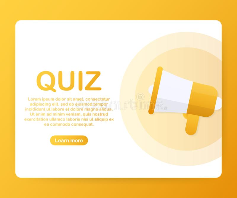 Megaphone Hand, business concept with text Quiz. Vector illustration vector illustration