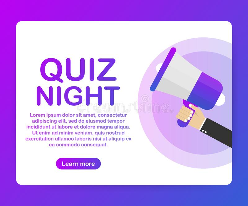 Megaphone Hand, business concept with text Quiz night. Vector illustration stock illustration