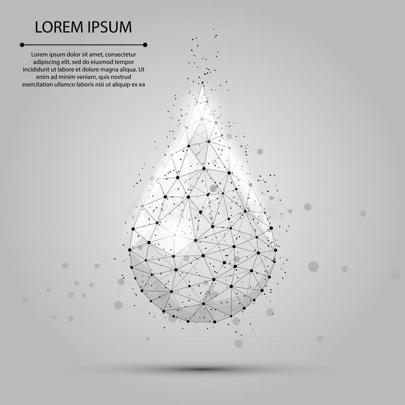 Low poly wireframe water drop with dots and stars. Fresh aqua or liquid, eco nature vector illustration royalty free illustration