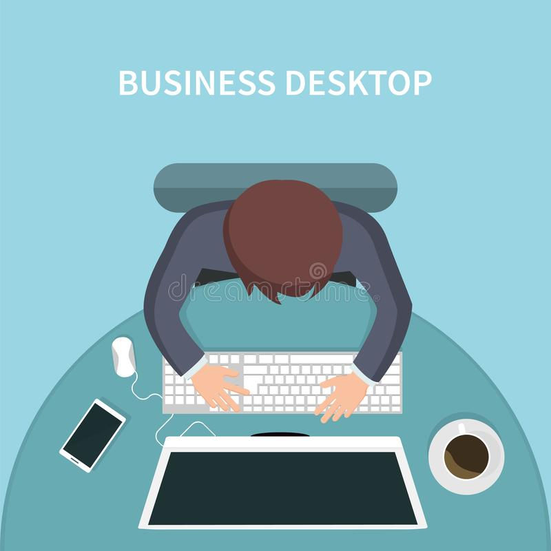 Top view of person business desk with his computer stock illustration