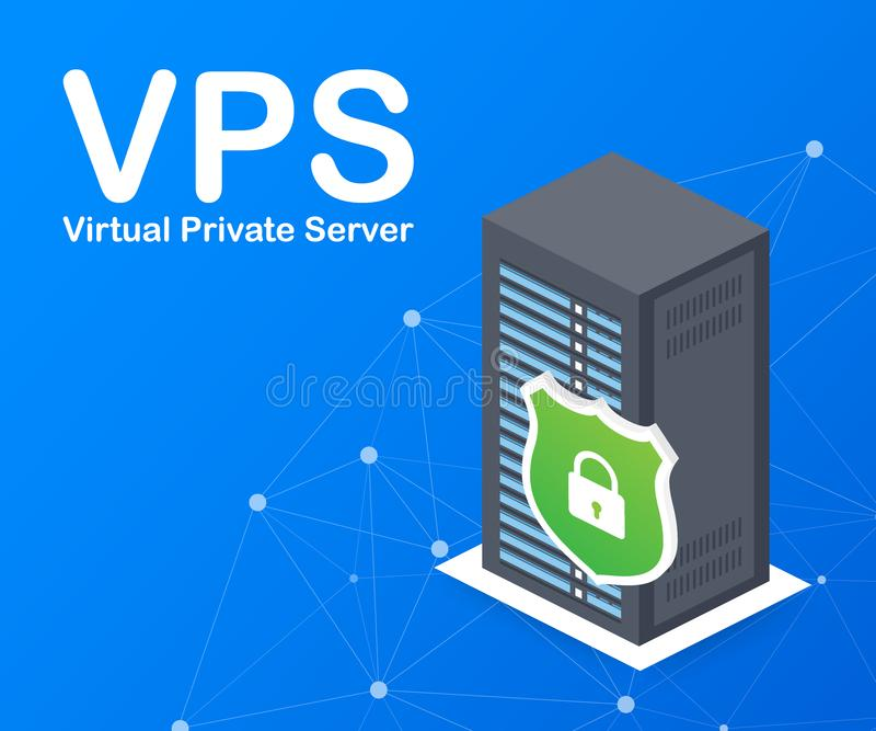 VPS Virtual private server web hosting services infrastructure technology. Vector illustration. royalty free illustration