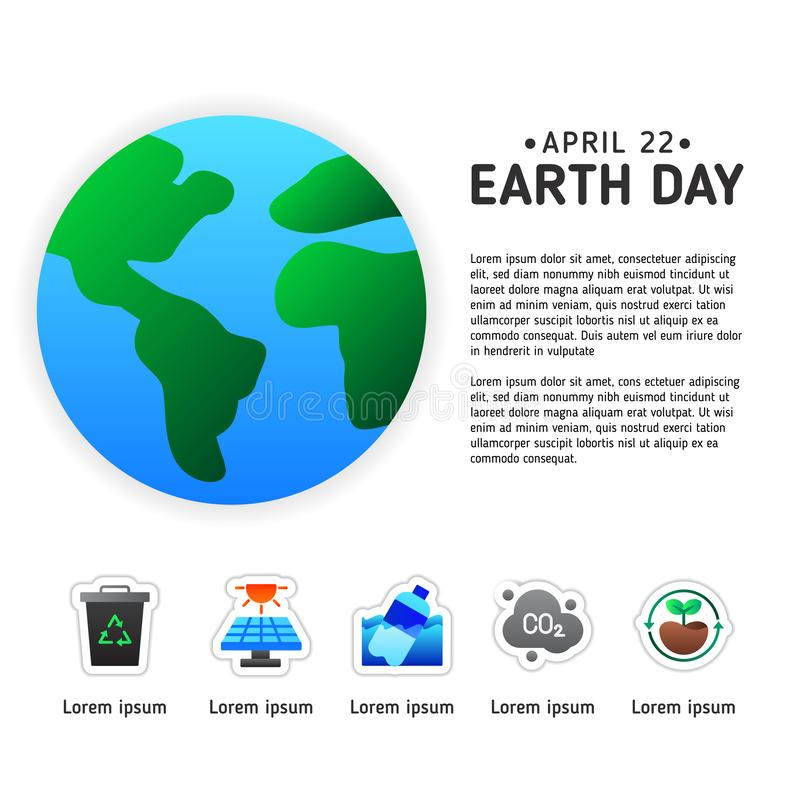 Earth day info graphic poster template with modern icon of Earth. Earth day poster template with modern icon. Suitable for environment or ecology campaign poster vector illustration