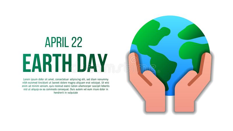 Earth day poster template with modern icon of holding Earth. Earth day poster template with modern icon. Suitable for environment or ecology campaign poster stock illustration