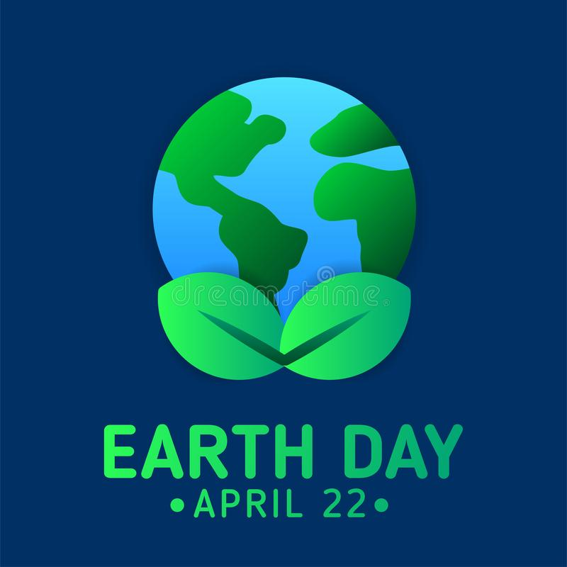 Earth day poster template with modern icon of Earth and leaves. Earth day poster template with modern icon. Suitable for environment or ecology campaign poster vector illustration