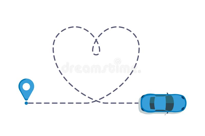 Love car route. Romantic travel, heart dashed line trace and routes. Hearted vehicle path, dotted love valentine day. Drawing isolated vector illustration royalty free illustration