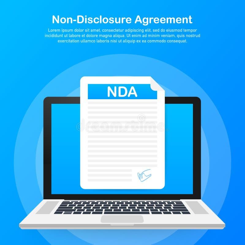 Signing NDA. Non disclosure agreement document. Vector illustration. Signing NDA. Non disclosure agreement document. Vector stock illustration stock illustration