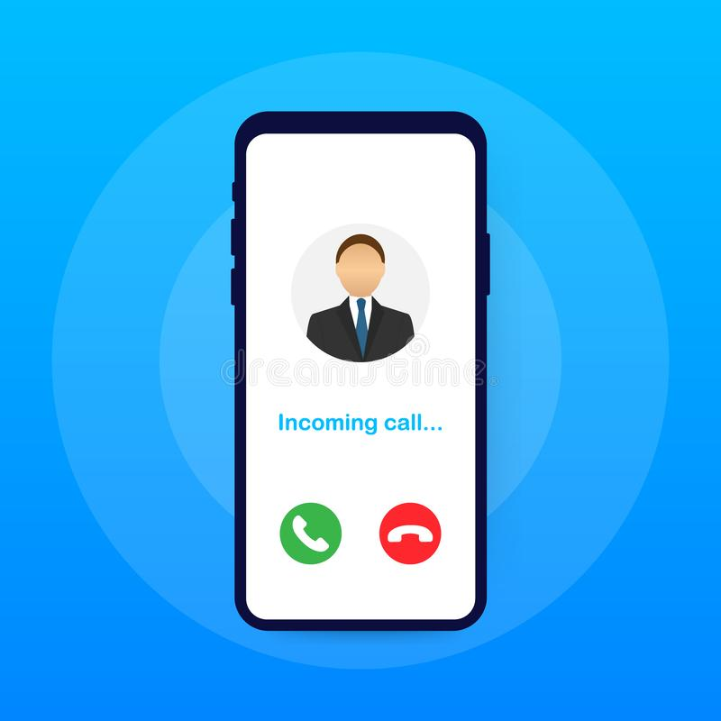 Smartphone with incoming call on display. Incoming call. Vector illustration. Smartphone with incoming call on display. Incoming call. Vector stock illustration vector illustration