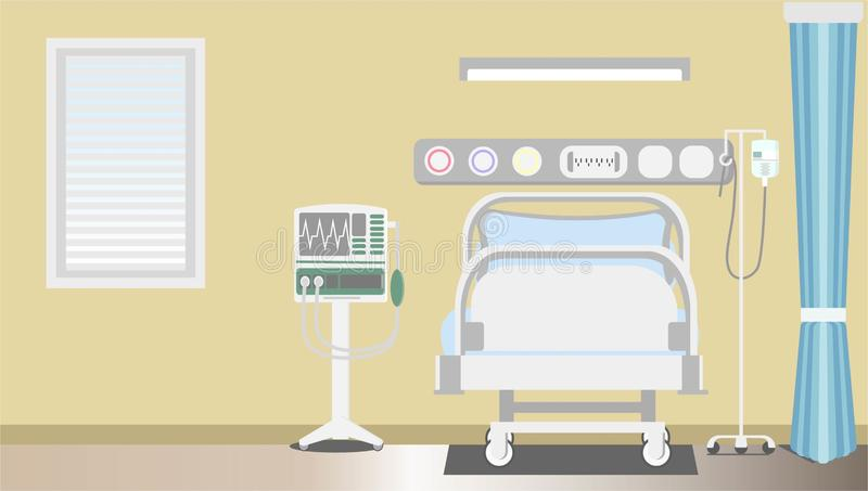 Interior intensive therapy patient space with copy flat vector illustrator. Hospital room concept vector illustration