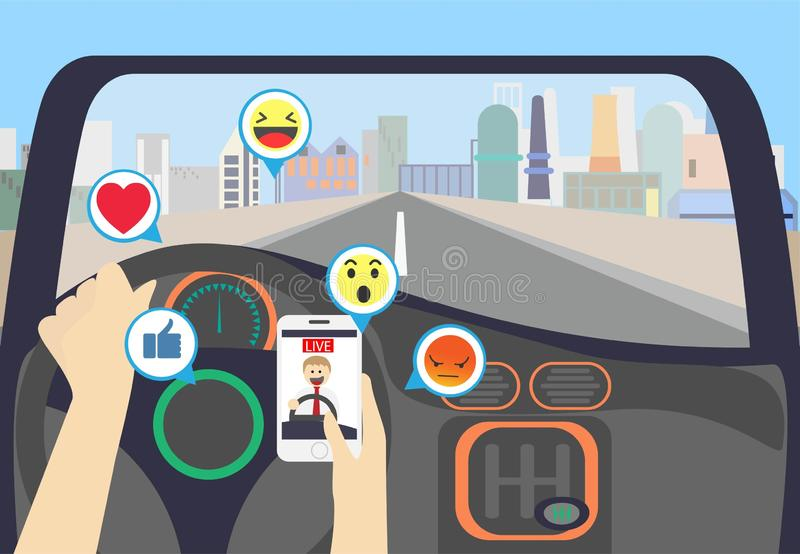 Video streaming while driving on the city stock illustration