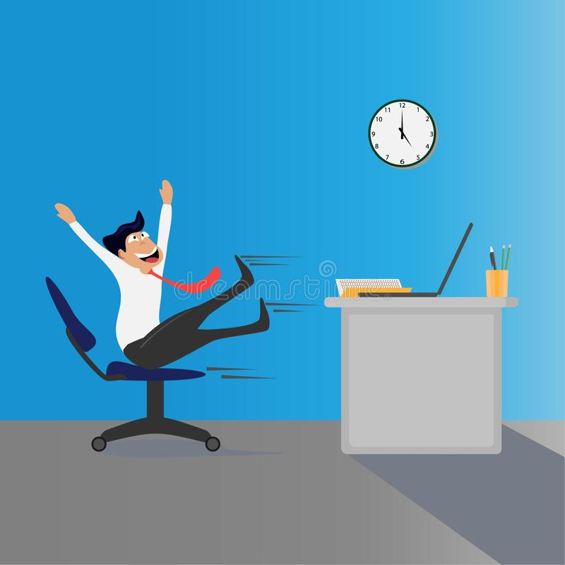 Quit work. work happily concept royalty free illustration