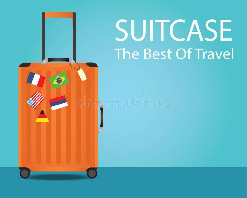 Orange suitcase for travel and  national flag sticker vector illustration