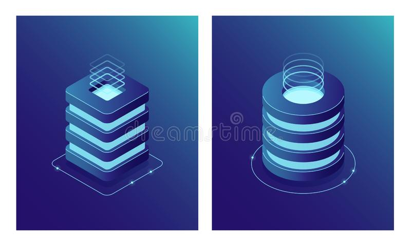 Isometric Database and Data Center, Server room rack, Cloud computing and File cloud storage. Two web icon. vector illustration