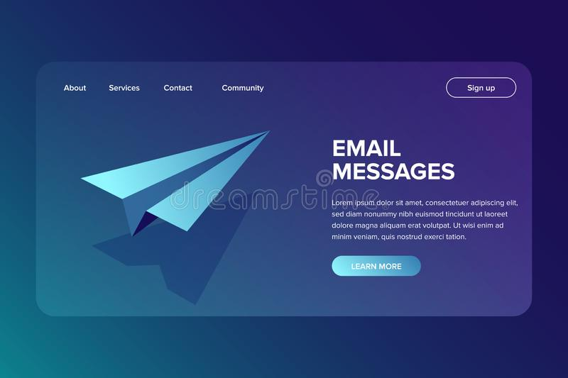 Isometric Email and Message Sending Concept. Vector paper small aircraft. Mailing banner for web or landing page stock illustration