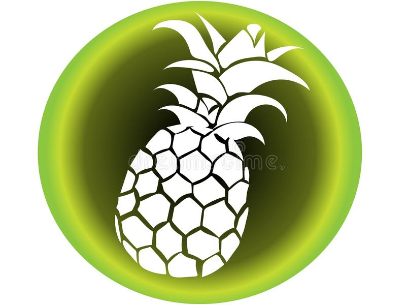 Vector icon of white pineapple with background in shades of green type tropical illustration of beach vacation royalty free illustration