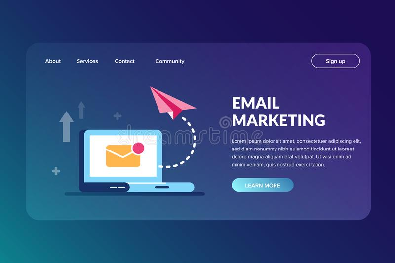 Email marketing web site template. A way to promote a product or service. Flat vector illustration. Email marketing web site template. A way to promote a vector illustration