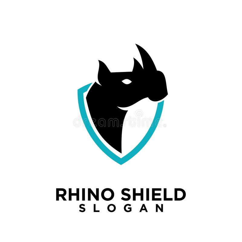 Rhino black shield logo icon designs vector illustration animal save protection royalty free illustration