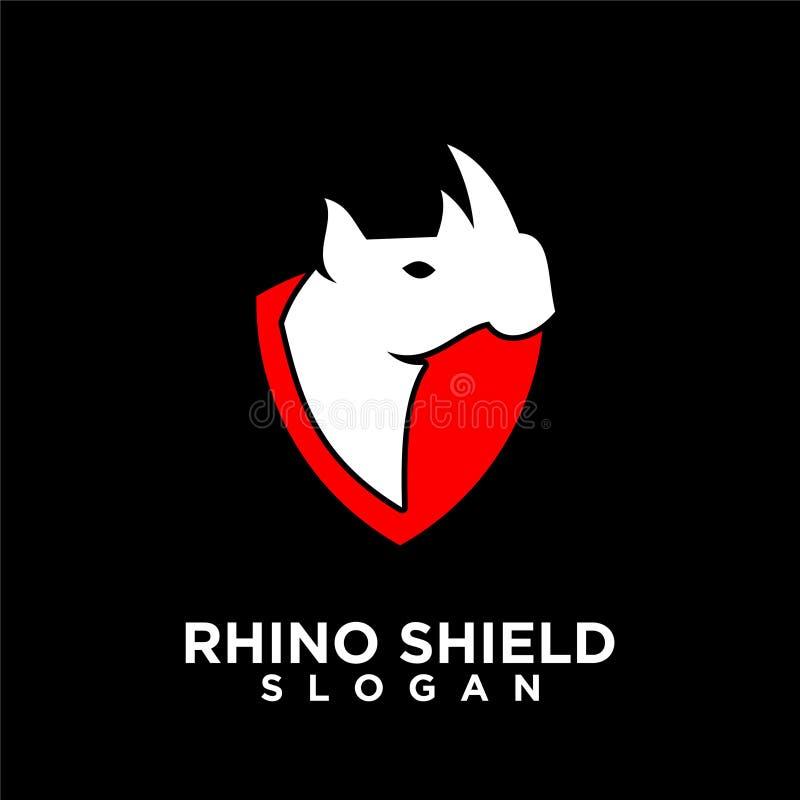 Rhino black shield logo icon designs vector illustration animal save protection vector illustration