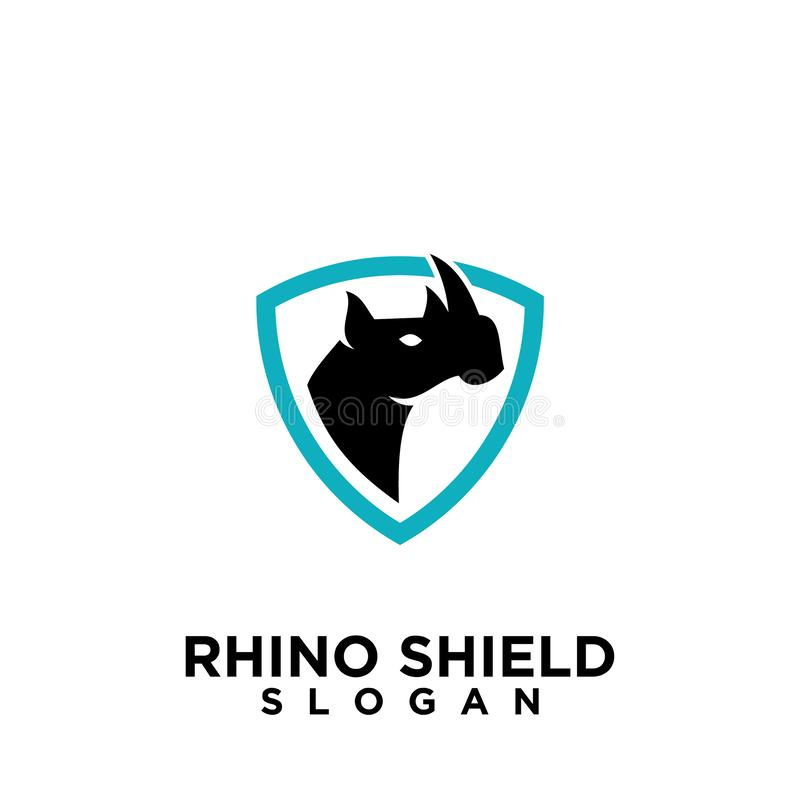 Rhino black shield logo icon designs vector illustration animal save protection vector illustration