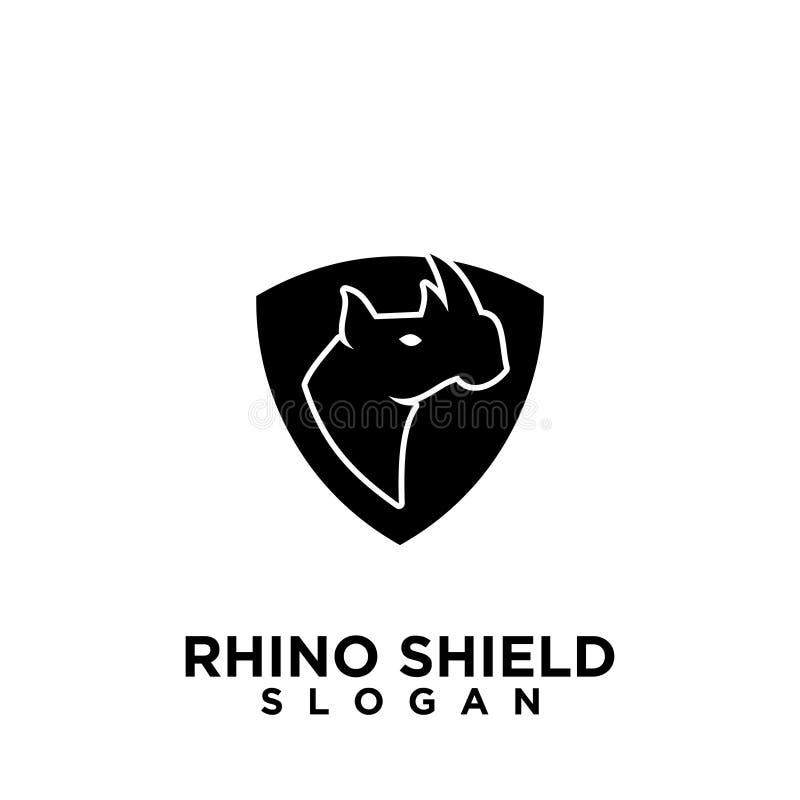 Rhino black shield logo icon designs vector illustration animal save protection royalty free illustration