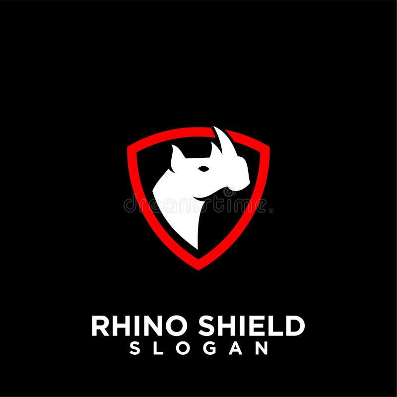 Rhino black shield logo icon designs vector illustration animal save protection stock illustration