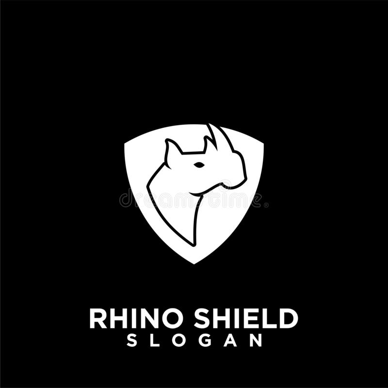Rhino black shield logo icon designs vector illustration animal save protection stock illustration