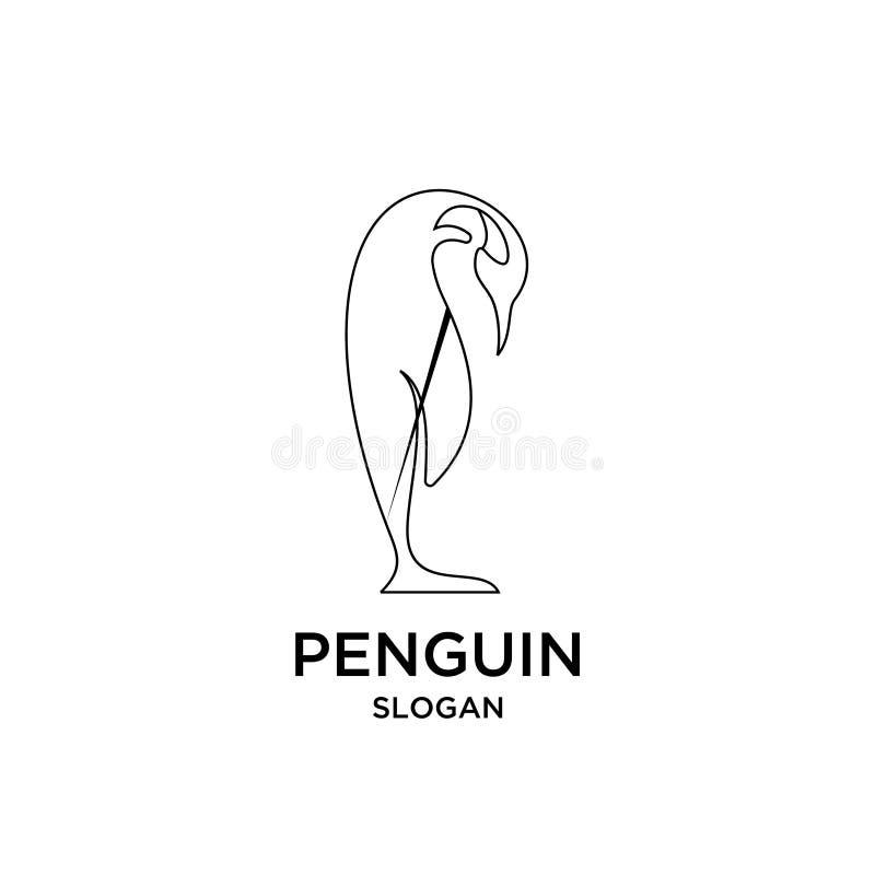 Penguin mono line outline logo icon designs vector illustration silhouette royalty free illustration