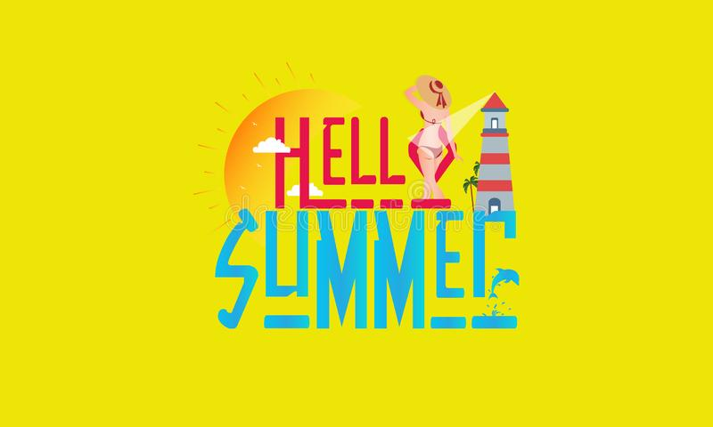 Hello Summer Greeting Text in Yellow Background - Vector vector illustration